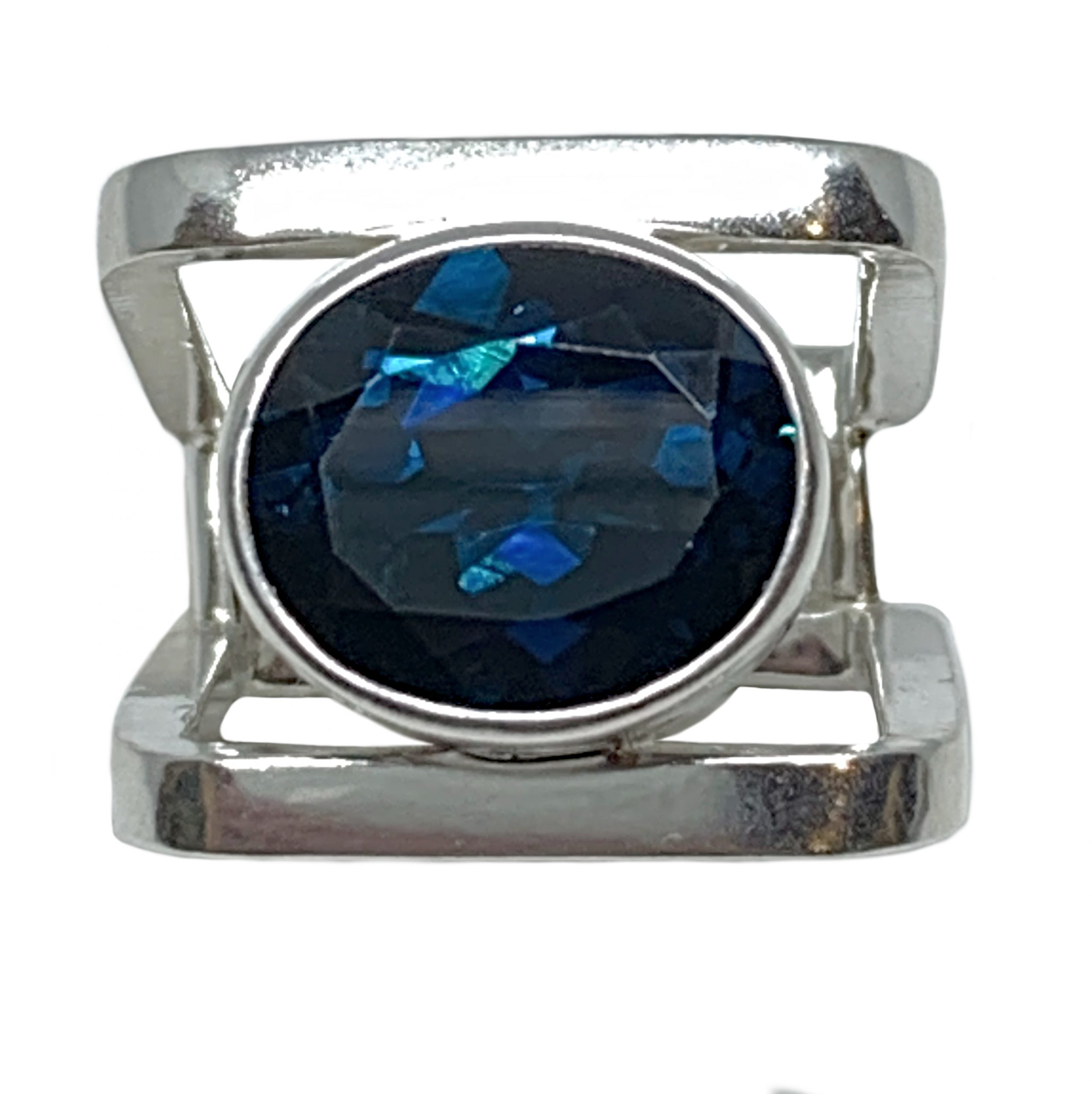 Sterling silver and 10 ct London blue topaz ring by A&R Jewellery | Effusion Art Gallery + Cast Glass Studio, Invermere BC