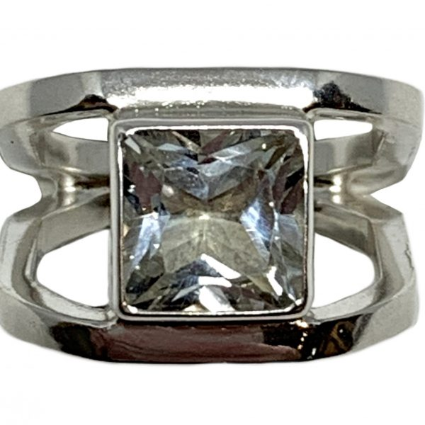 Sterling silver and 3 ct white topaz ring by A&R Jewellery   Effusion Art Gallery + Cast Glass Studio, Invermere BC