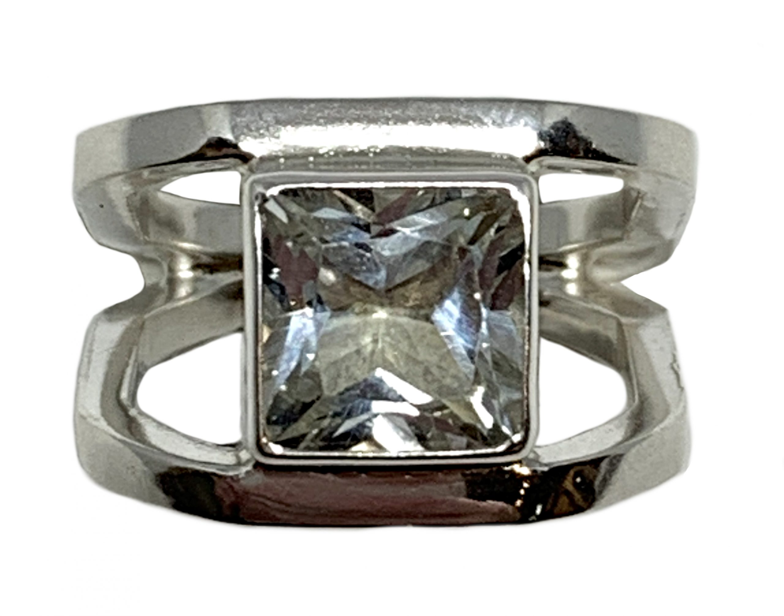 Sterling silver and 3 ct white topaz ring by A&R Jewellery | Effusion Art Gallery + Cast Glass Studio, Invermere BC