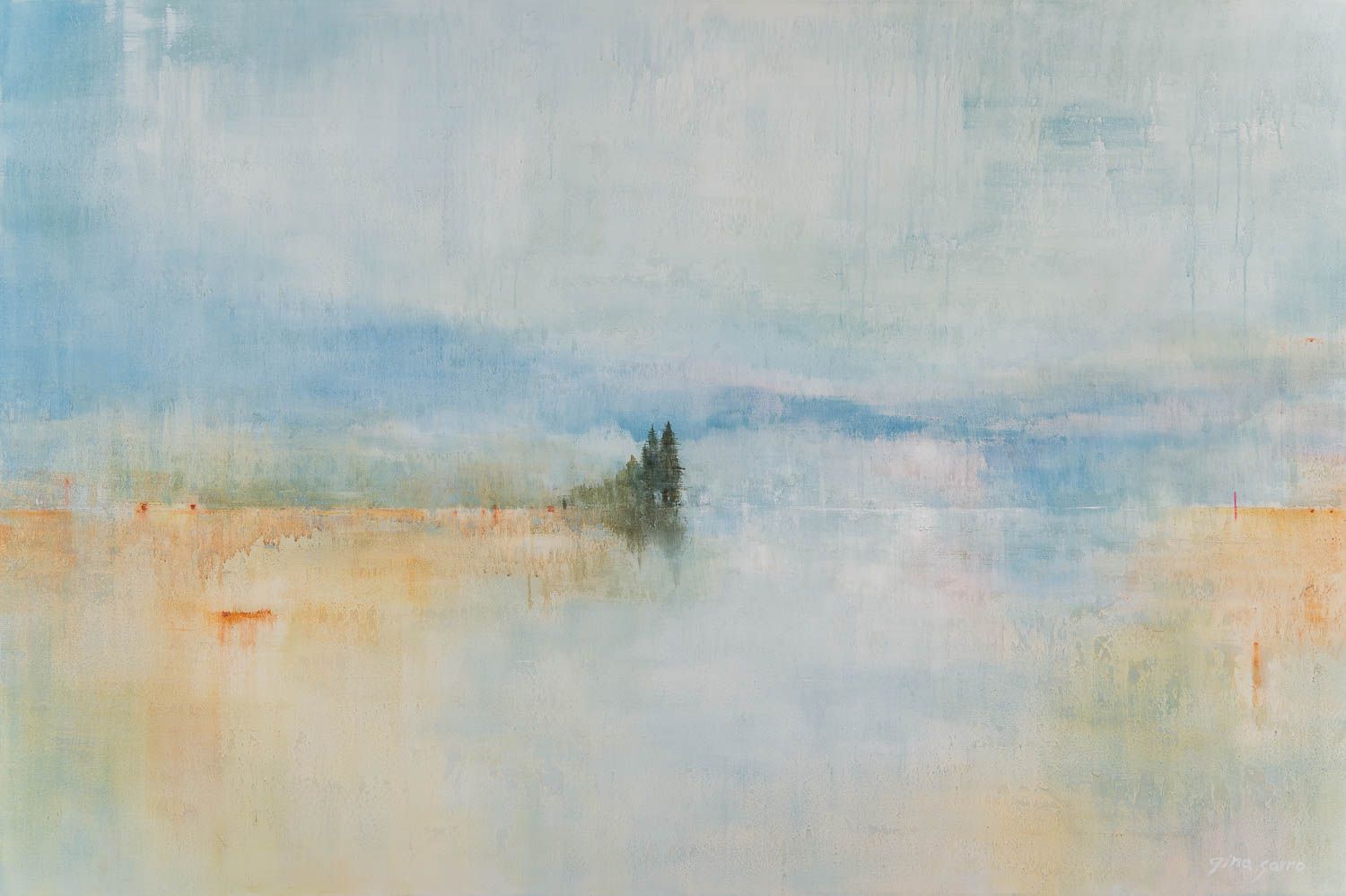 New Beginnings, acrylic landscape painting by Gina Sarro   Effusion Art Gallery + Cast Glass Studio, Invermere BC