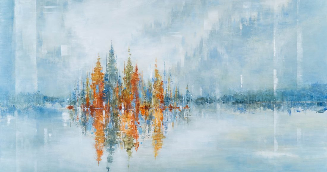 Surrounded by Silence, acrylic landscape painting by Gina Sarro | Effusion Art Gallery + Cast Glass Studio, Invermere BC