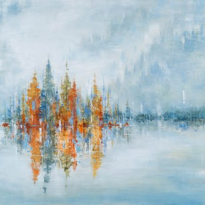 Surrounded by Silence, acrylic landscape painting by Gina Sarro   Effusion Art Gallery + Cast Glass Studio, Invermere BC