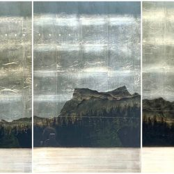 Lake's End #2, mixed media landscape painting by David Graff | Effusion Art Gallery + Cast Glass Studio, Invermere BC