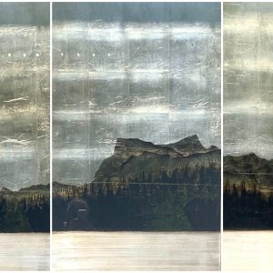 Lake's End #2, mixed media landscape painting by David Graff   Effusion Art Gallery + Cast Glass Studio, Invermere BC