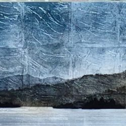 Western Shores, mixed media landscape painting by David Graff | Effusion Art Gallery + Cast Glass Studio, Invermere BC