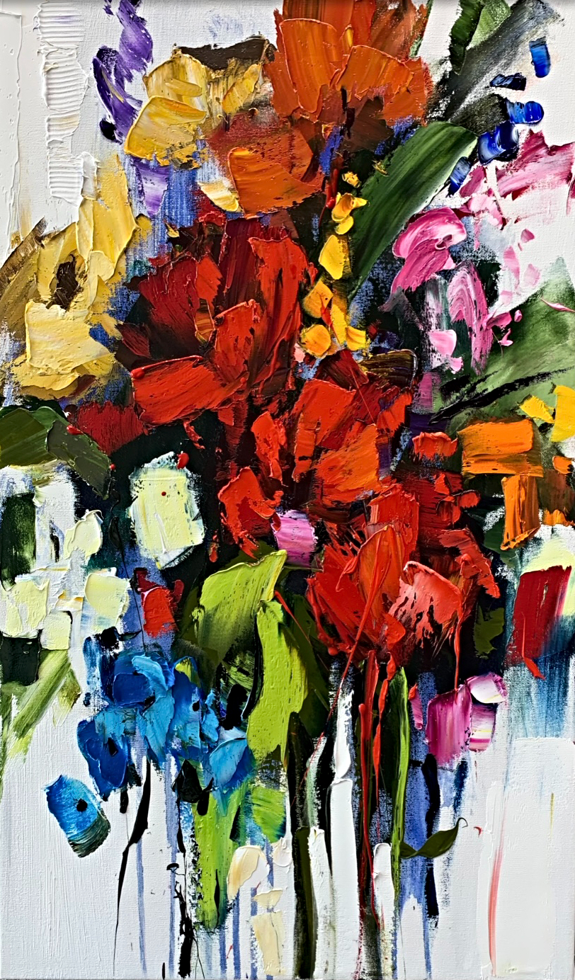 Almost Everything, floral painting by Kimberly Kiel | Effusion Art Gallery + Cast Glass Studio, Invermere BC