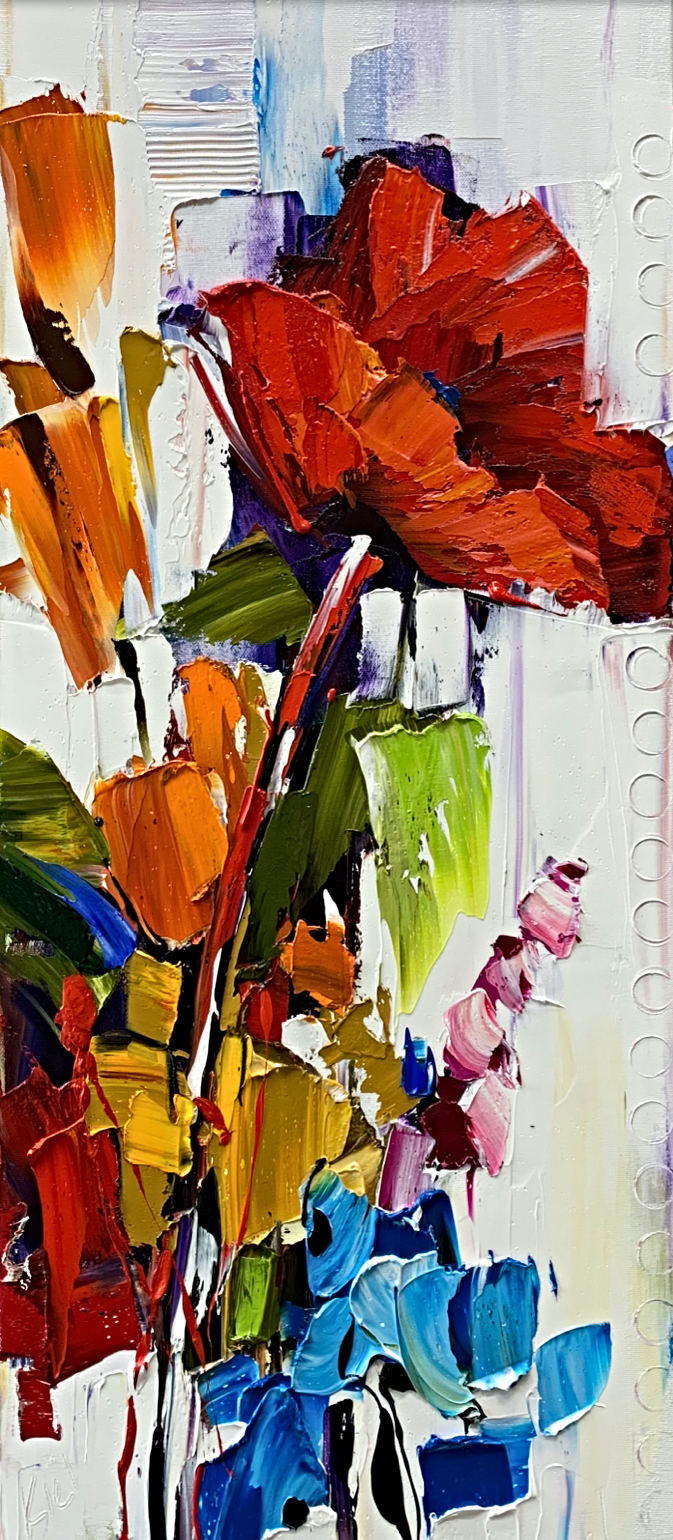 As Anyone Can See, floral painting by Kimberly Kiel | Effusion Art Gallery + Cast Glass Studio, Invermere BC