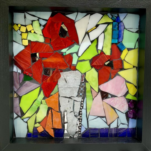 Borrowing a Love Song from the Birds, stained glass mosaic by Kimberly Kiel   Effusion Art Gallery + Cast Glass Studio, Invermere BC
