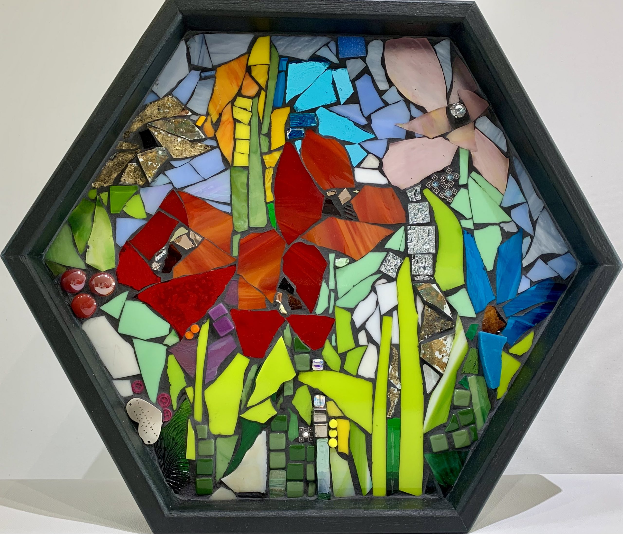 Don't Worry 'bout it, stained glass mosaic by Kimberly Kiel   Effusion Art Gallery + Cast Glass Studio, Invermere BC