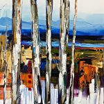 Modern Interpretations, mixed media treescape by Kimberly Kiel | Effusion Art Gallery +  Cast Glass Studio, Invermere BC