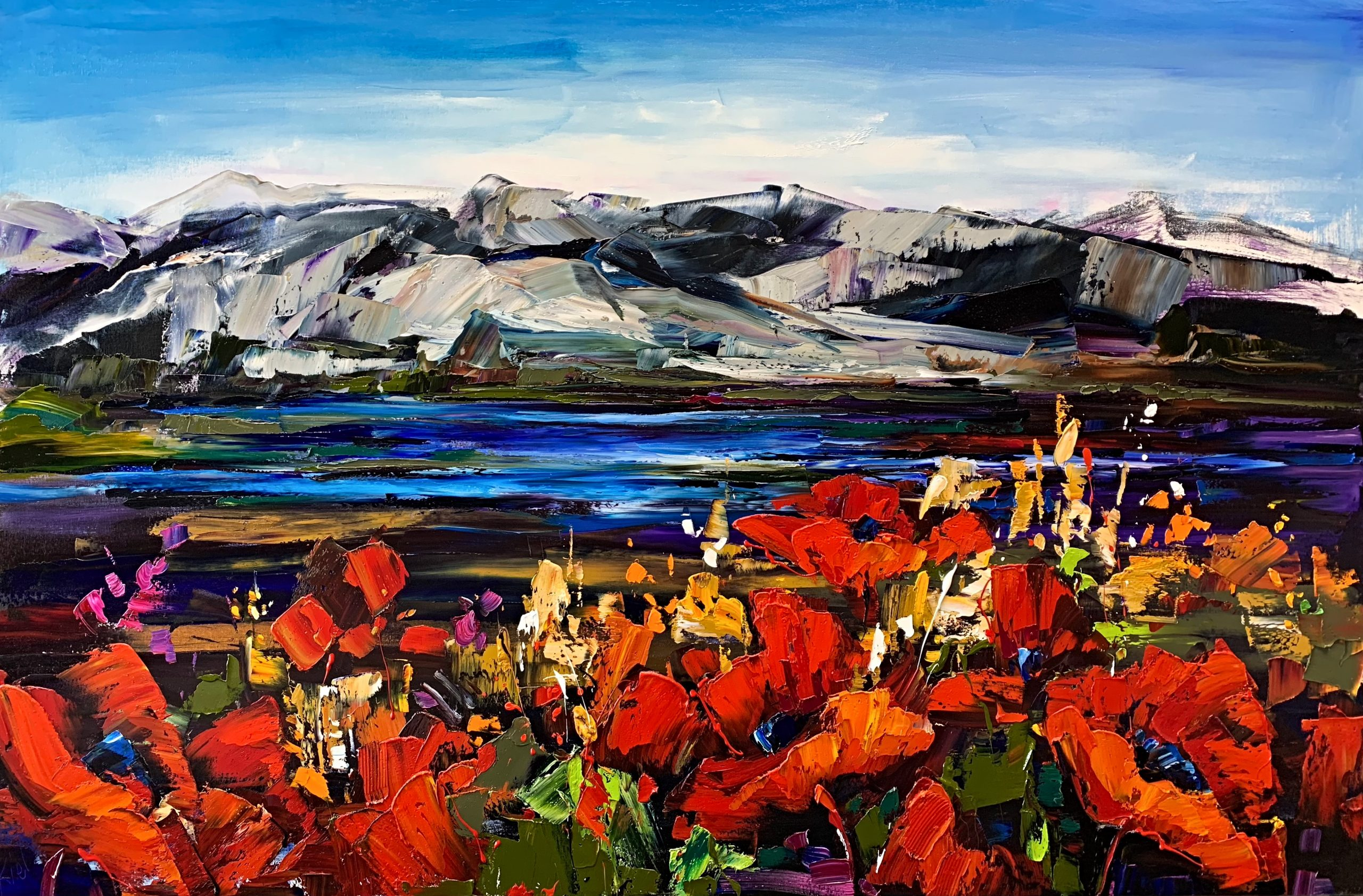 There's Freedom Here, oil landscape painting by Kimberly Kiel | Effusion Art Gallery + Cast Glass Studio, Invermere BC