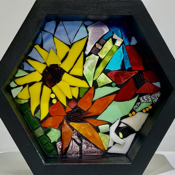 Us & Them, stained glass mosaic by Kimberly Kiel   Effusion Art Gallery + Cast Glass Studio, Invermere BC