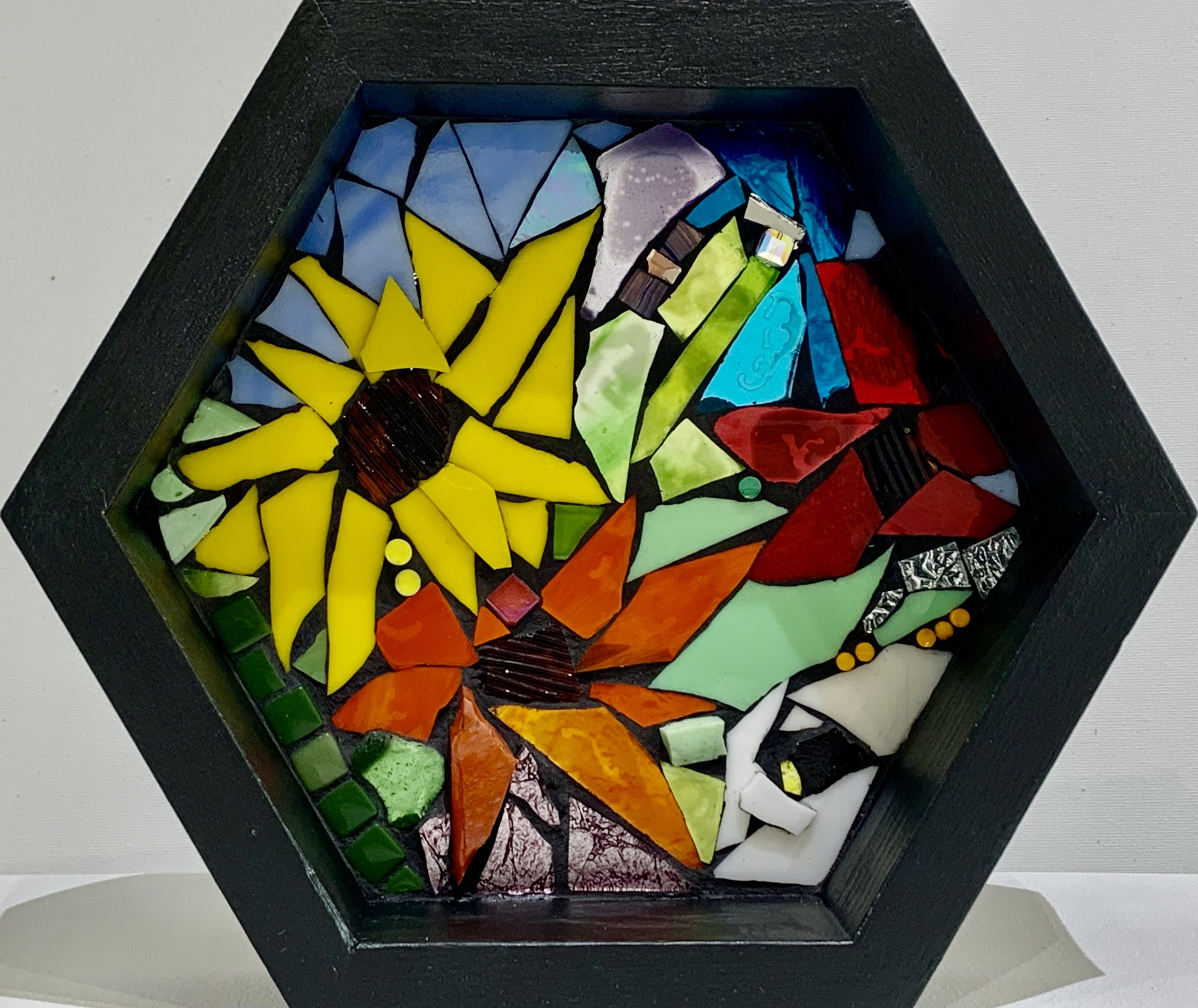 Us & Them, stained glass mosaic by Kimberly Kiel | Effusion Art Gallery + Cast Glass Studio, Invermere BC