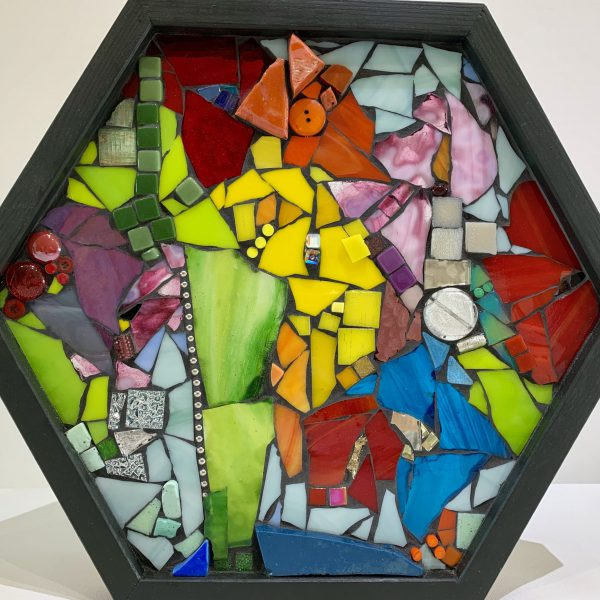 Whatever Makes You Happy, stained glass mosaic by Kimberly Kiel   Effusion Art Gallery + Cast Glass Studio, Invermere BC