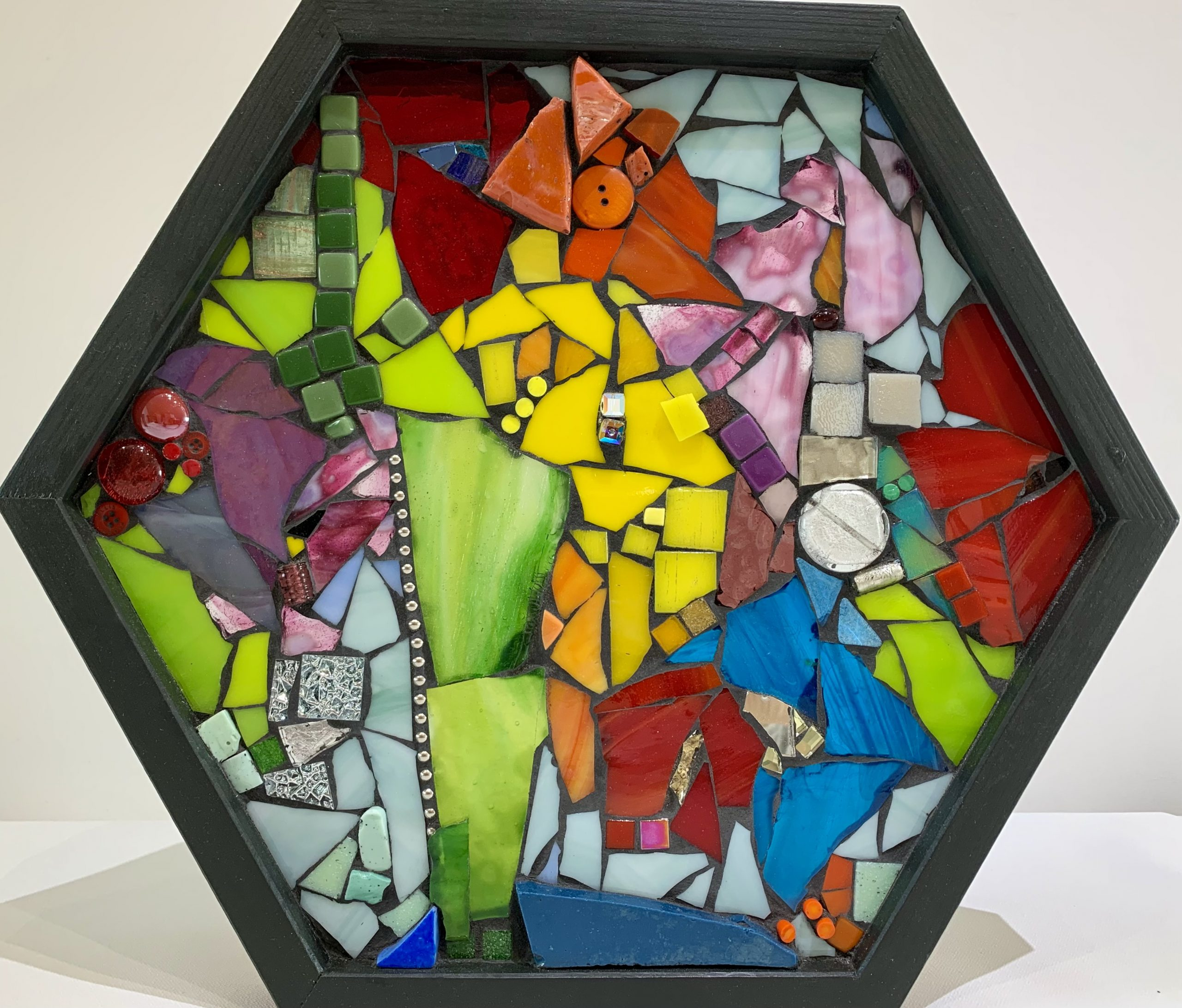 Whatever Makes You Happy, stained glass mosaic by Kimberly Kiel | Effusion Art Gallery + Cast Glass Studio, Invermere BC