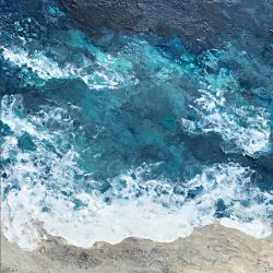 Beauty of the Deep, encaustic seascape painting by Lee Anne LaForge | Effusion Art Gallery + Cast Glass Studio, Invermere BC