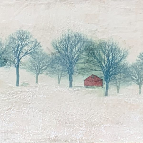 Red Shed, encaustic landscape painting by Lee Anne LaForge | Effusion Art Gallery + Cast Glass Studio, Invermere BC