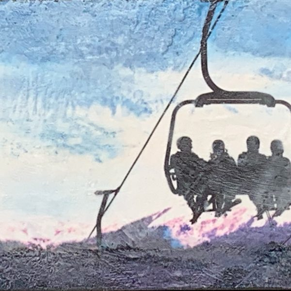 Ski West, encaustic chairlift painting by Lee Anne LaForge | Effusion Art Gallery + Cast Glass Studio, Invermere BC