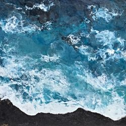 The Endless Sea, encaustic seascape painting by Lee Anne LaForge | Effusion Art Gallery + Cast Glass Studio, Invermere BC