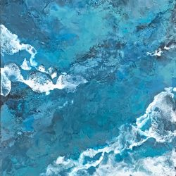 The Power of the Sea, encaustic seascape painting by Lee Anne LaForge | Effusion Art Gallery + Cast Glass Studio, Invermere BC