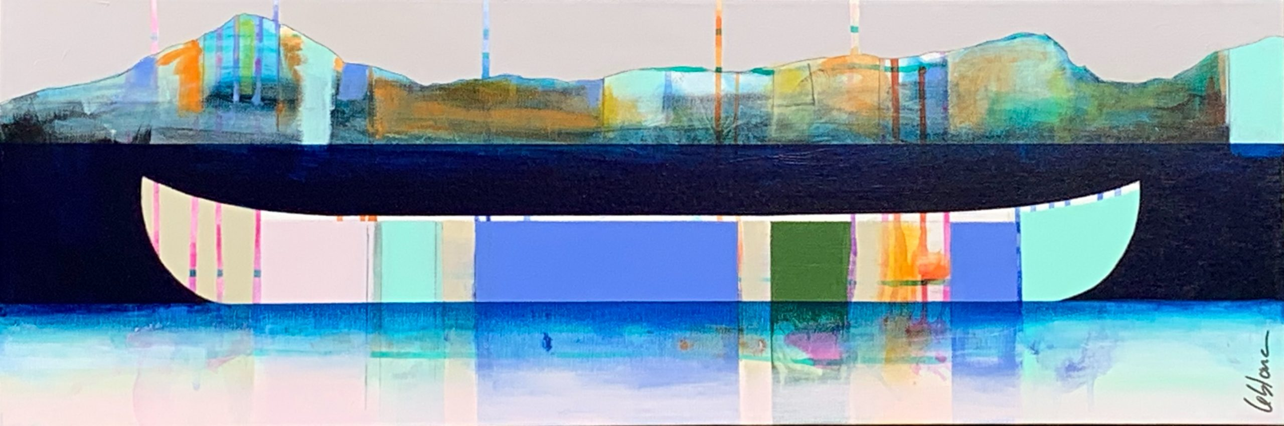 Distance, mixed media canoe painting by Sylvain Leblanc | Effusion Art Gallery + Cast Glass Studio, Invermere BC