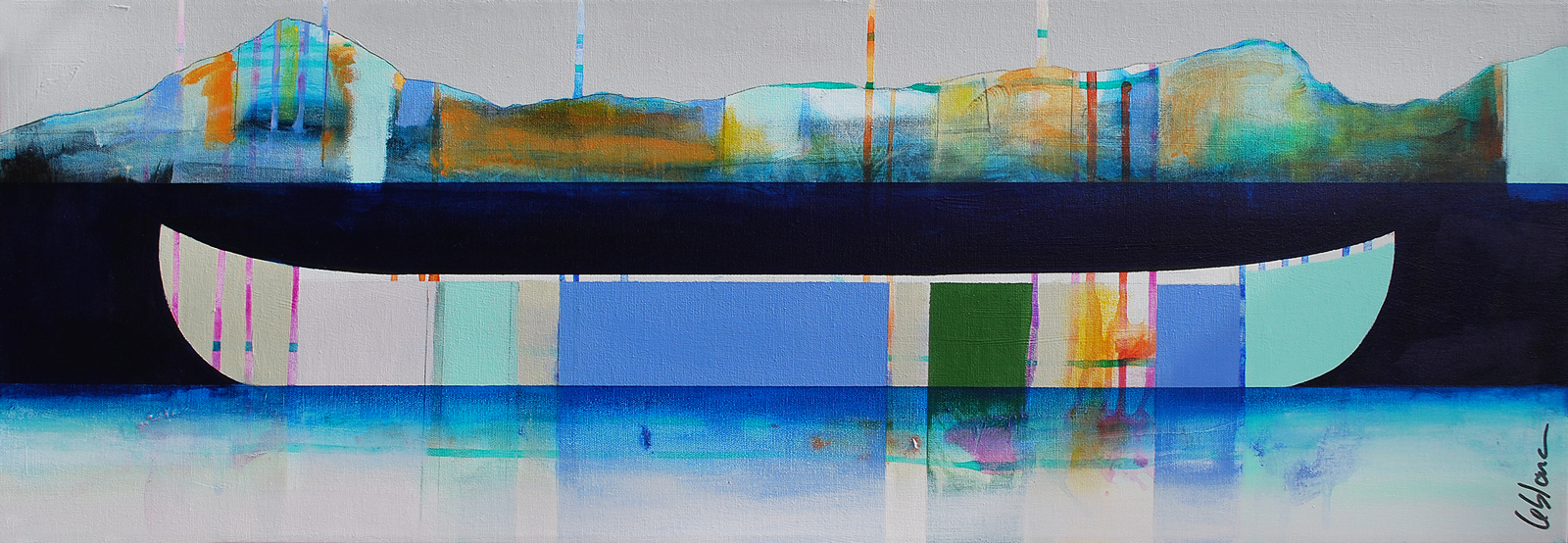 Distance, mixed media canoe painting by Sylvain Leblanc   Effusion Art Gallery + Cast Glass Studio, Invermere BC
