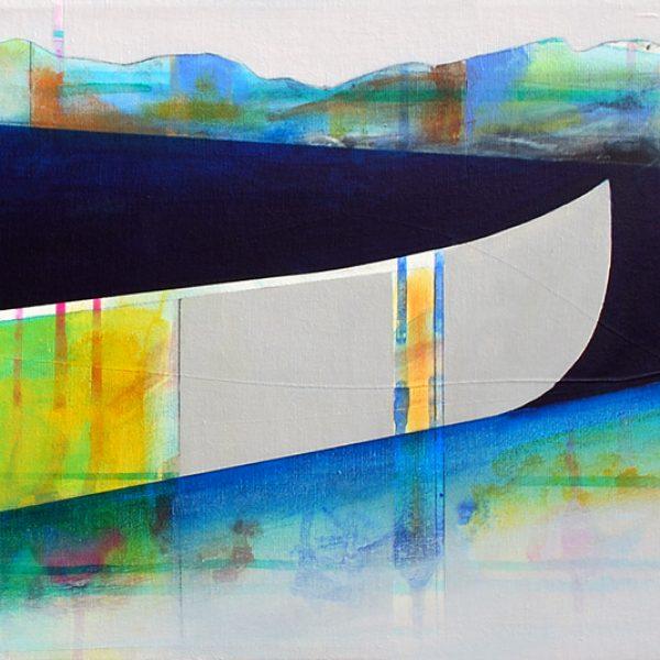 Éphèmère, mixed media canoe painting by Sylvain Leblanc | Effusion Art Gallery + Cast Glass Studio, Invermere BC
