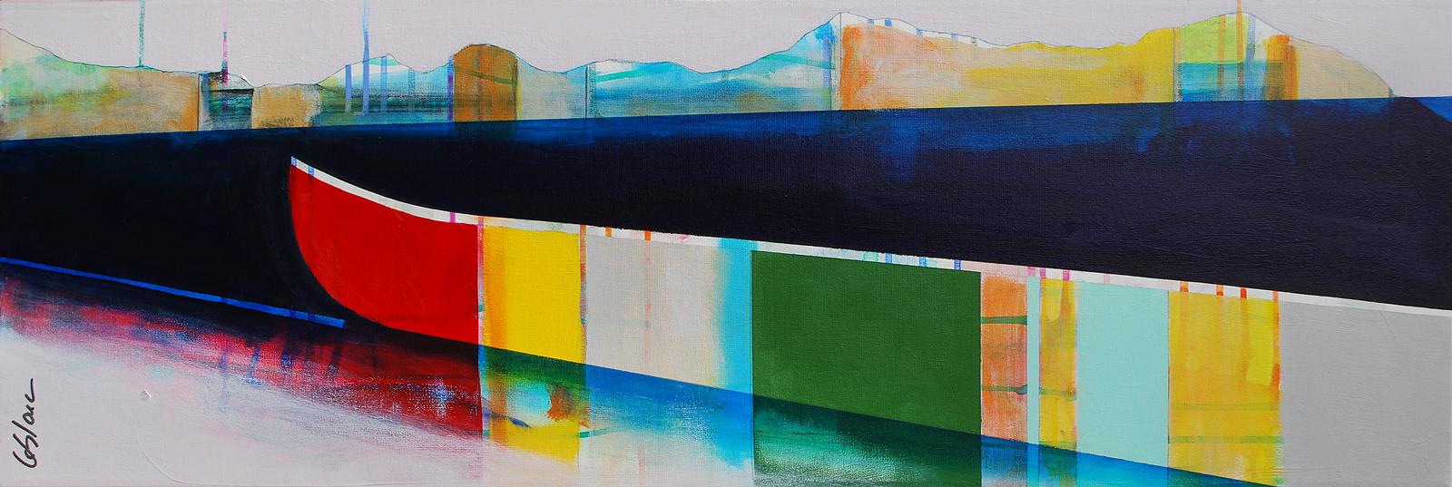 Escapade, mixed media canoe painting by Sylvain Leblanc | Effusion Art Gallery + Cast Glass Studio, Invermere BC