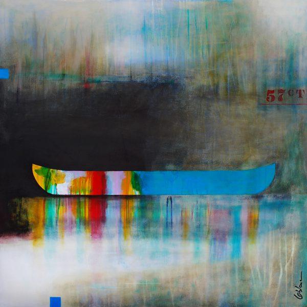 L'équilibre des désirs, mixed media canoe painting by Sylvain Leblanc | Effusion Art Gallery + Cast Glass Studio, Invermere BC