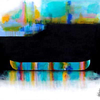 Parfois il y a de ses lumières, mixed media canoe painting by Sylvain Leblanc   Effusion Art Gallery + Cast Glass Studio, Invermere BC