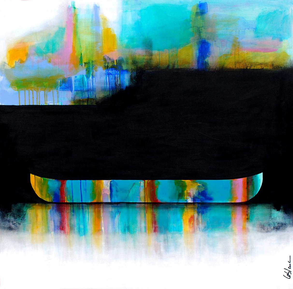 Parfois il y a de ses lumières, mixed media canoe painting by Sylvain Leblanc | Effusion Art Gallery + Cast Glass Studio, Invermere BC