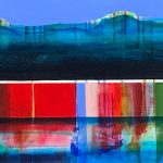 Prelude, mixed media canoe painting by Sylvain Leblanc | Effusion Art Gallery + Cast Glass Studio, Invermere BC