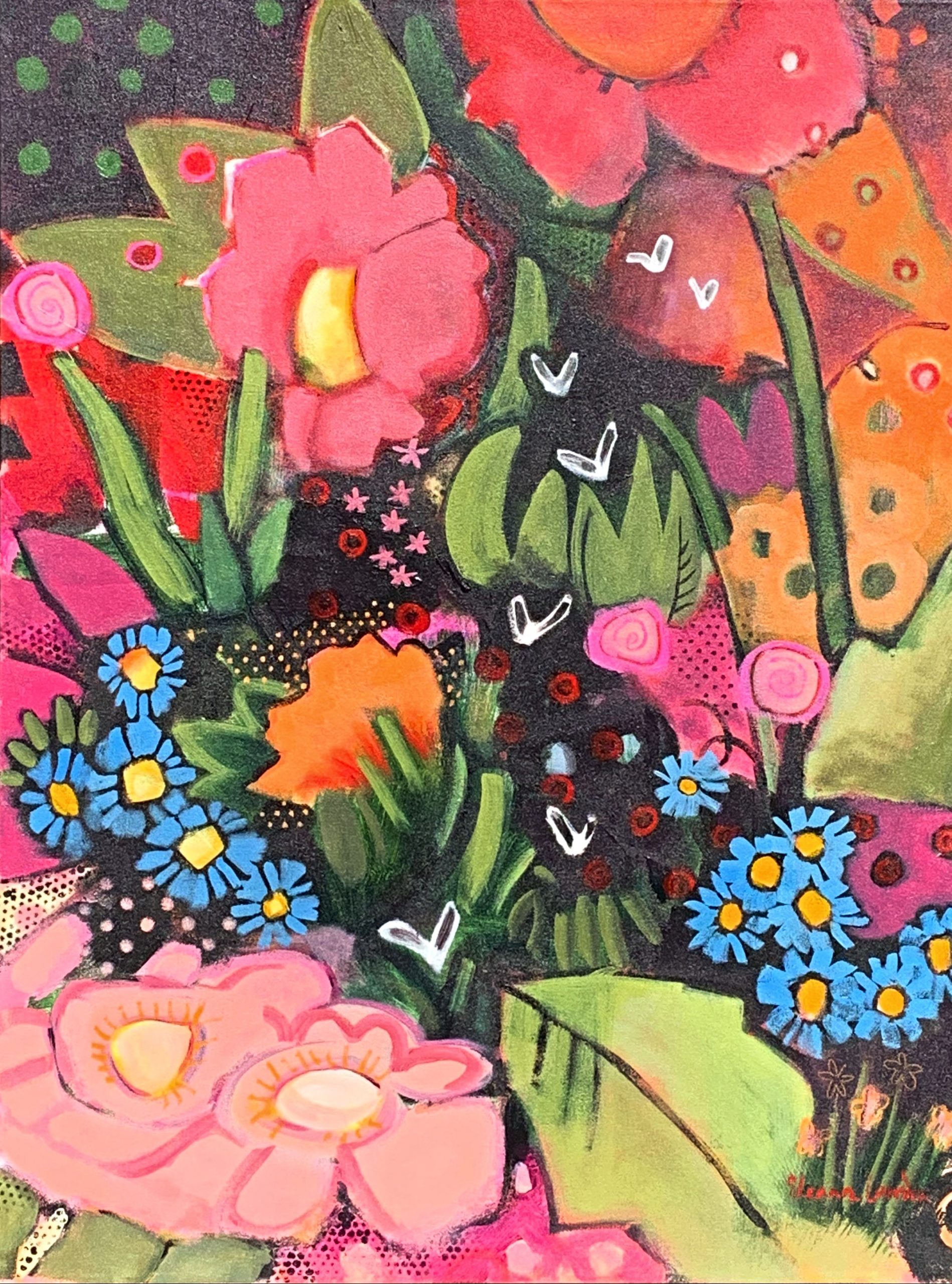 Fireflies, acrylic night garden painting by Eleanor Lowden | Effusion Art Gallery + Cast Glass Studio, Invermere BC