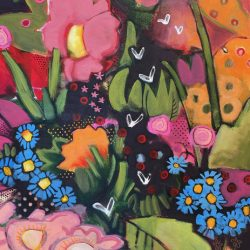 Fireflies, acrylic floral painting by Eleanor Lowden | Effusion Art Gallery + Cast Glass Studio, Invermere BC