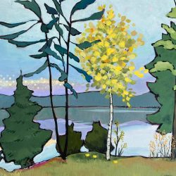 Magic at Daybreak, acrylic landscape painting by Eleanor Lowden | Effusion Art Gallery + Cast Glass Studio, Invermere BC