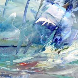 Blue Jean Mountain Bay, mixed media painting by Joel Masewich | Effusion Art Gallery + Cast Glass Studio, Invermere BC