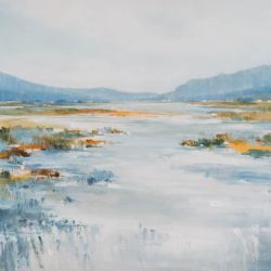 Alpine Meadow, acrylic landscape painting by Gina Sarro | Effusion Art Gallery + Cast Glass Studio, Invermere BC