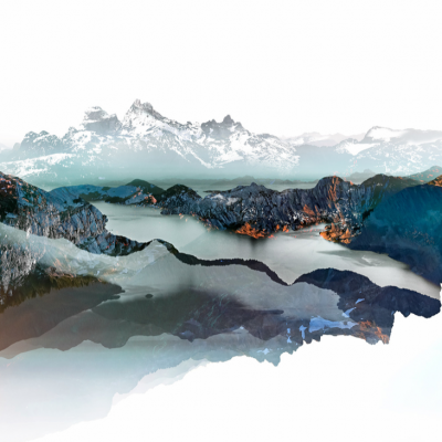 Sea to Sky 1, mixed media landscape by Stacey Bodnaruk   Effusion Art Gallery + Cast Glass Studio, Invermere BC