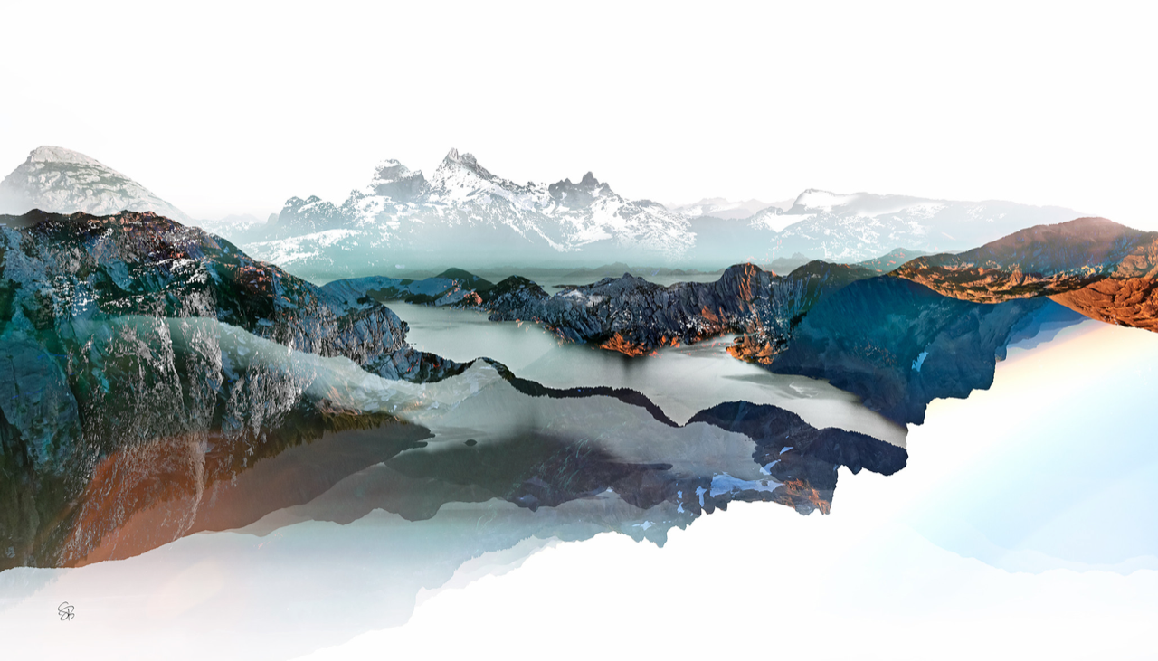 Sea to Sky 1, mixed media landscape by Stacey Bodnaruk | Effusion Art Gallery + Cast Glass Studio, Invermere BC