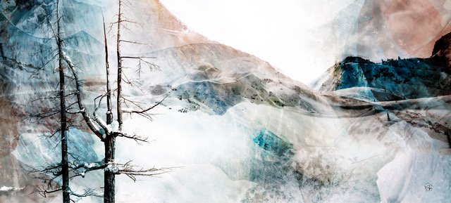 Silence, mixed media landscape by Stacey Bodnaruk | Effusion Art Gallery + Cast Glass Studio, Invermere BC
