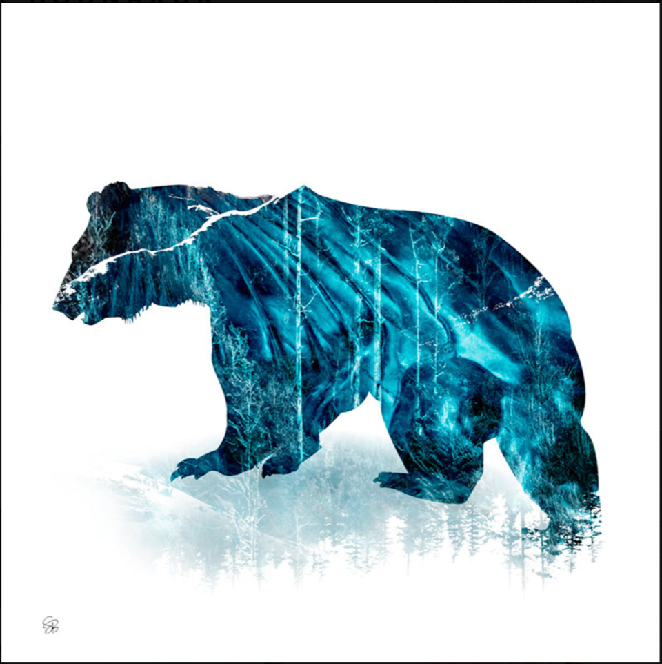 Spirit Bear Ice, mixed media landscape by Stacey Bodnaruk   Effusion Art Gallery + Cast Glass Studio, Invermere BC