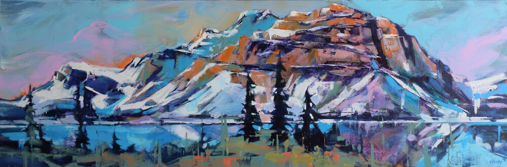 Crowfoot Mountain Glacier, Bow Lake, acrylic landscape painting by Verne Busby   Effusion Art Gallery + Cast Glass Studio, Invermere BC