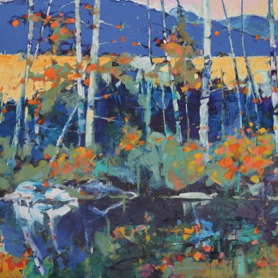 Fall Treasure, acrylic landscape painting by Verne Busby   Effusion Art Gallery + Cast Glass Studio, Invermere BC