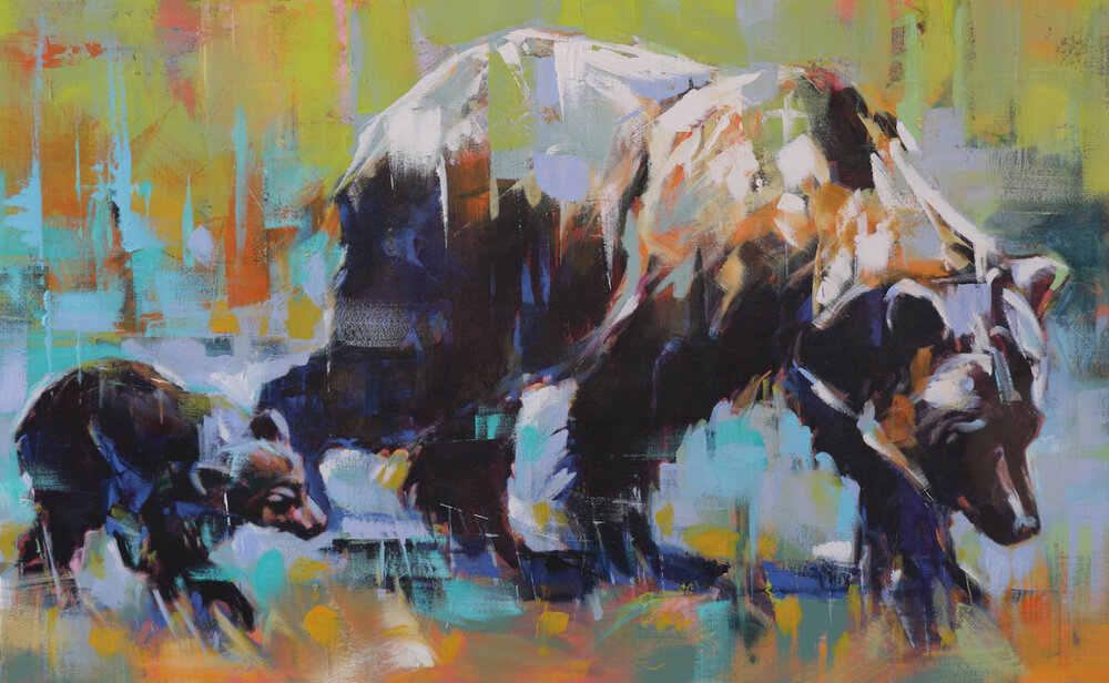 Grizzly Sow and Cub, acrylic grizzly bear painting by Verne Busby | Effusion Art Gallery + Cast Glass Studio, Invermere BC