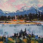 Kootenay River East, acrylic landscape painting by Verne Busby | Effusion Art Gallery + Cast Glass Studio, Invermere BC