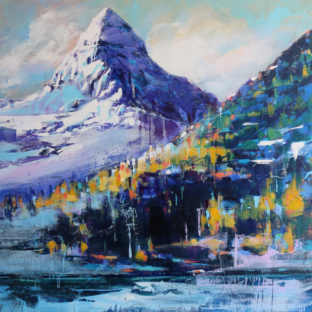 Mount Assiniboine, acrylic landscape painting by Verne Busby | Effusion Art Gallery + Cast Glass Studio, Invermere BC
