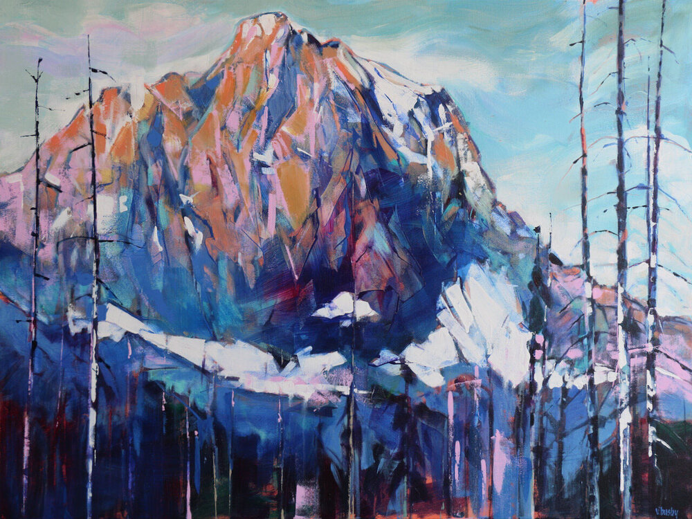 Mount White Tail, acrylic landscape painting by Verne Busby | Effusion Art Gallery + Cast Glass Studio, Invermere BC