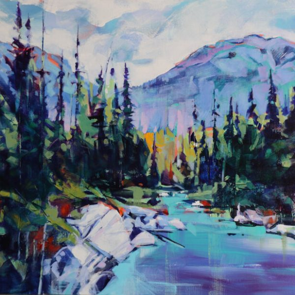 Vermillion Crossing, acrylic landscape painting by Verne Busby | Effusion Art Gallery + Cast Glass Studio, Invermere BC