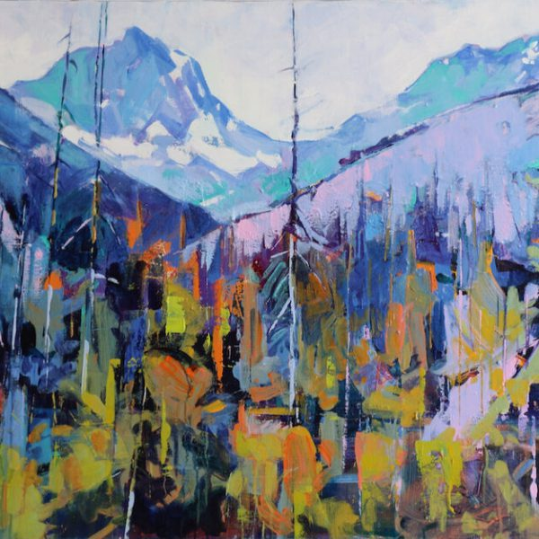 White Tail Peaks to Verendrye, acrylic landscape painting by Verne Busby | Effusion Art Gallery + Cast Glass Studio, Invermere BC