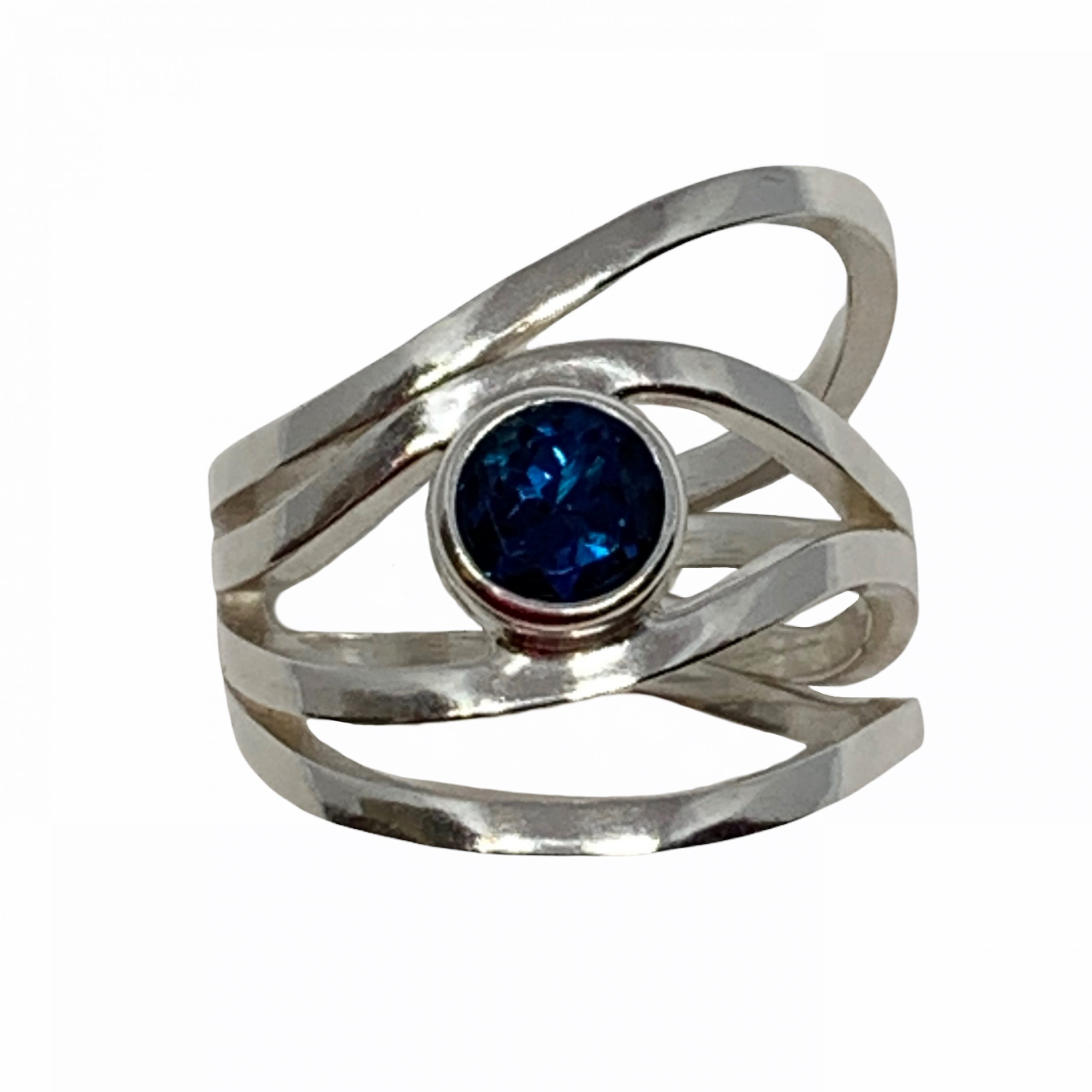 Sterling silver and London topaz ring by A&R Jewellery | Effusion Art Gallery + Cast Glass Studio, Invermere BC